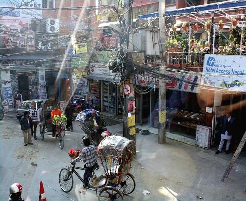 elektriciteitspaal in Thamel Kathmandu